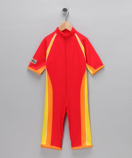 Red One-Piece Rashguard - Toddler & Kids