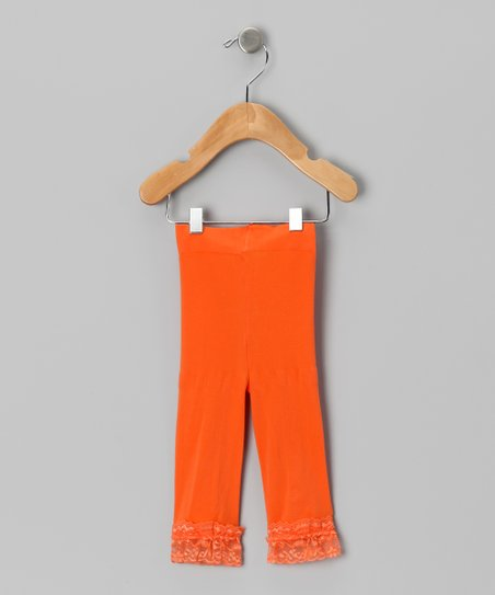 Orange Velvet Lace-Trim Leggings - Toddler & Girls