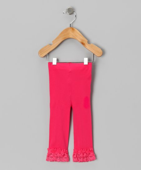 Watermelon Velvet Lace-Trim Leggings - Toddler & Girls