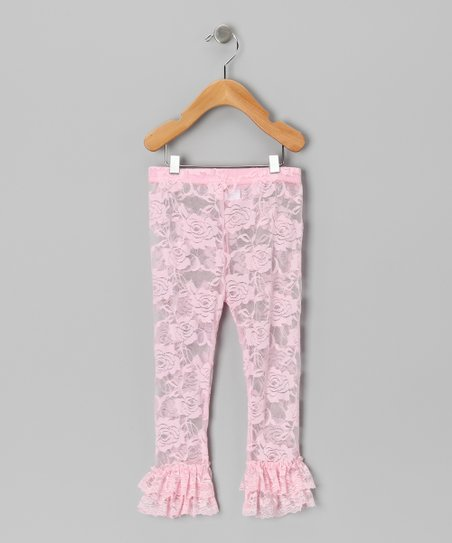 Pink Floral Lace Leggings - Infant, Toddler & Girls