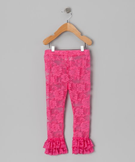 Hot Pink Floral Lace Leggings - Infant, Toddler & Girls
