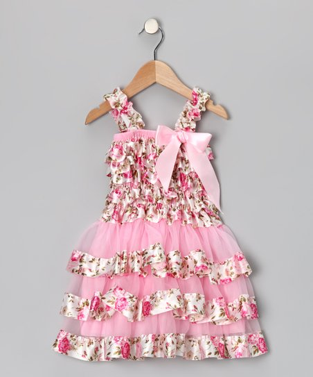 Pink Flower Ruffle Dress - Infant, Toddler & Girls
