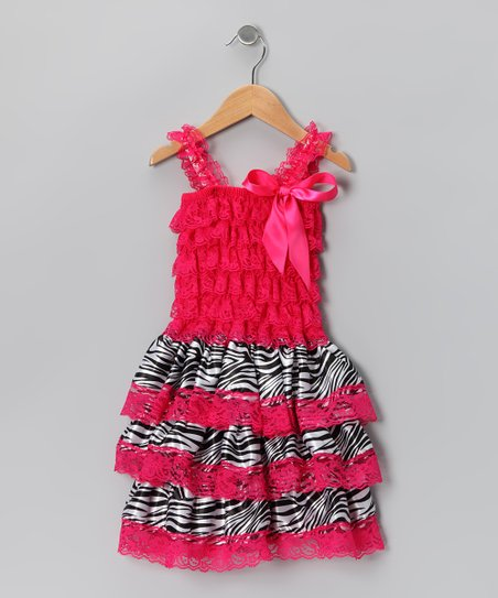 Hot Pink Zebra Ruffle Dress - Infant &amp; Toddler