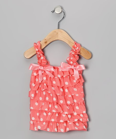 White Polka Dot Satin Ruffle Top - Infant & Toddler