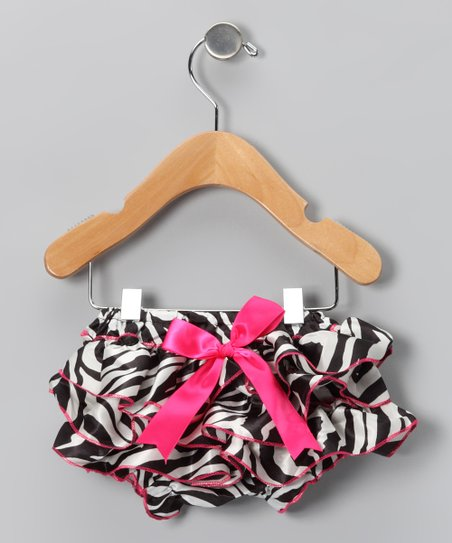 White & Hot Pink Zebra Stripe Bow Bloomers - Infant & Toddler