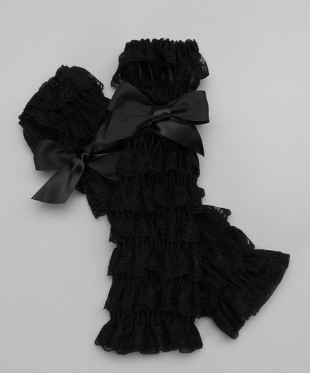 Black Lace Ruffle Bow Leg Warmers