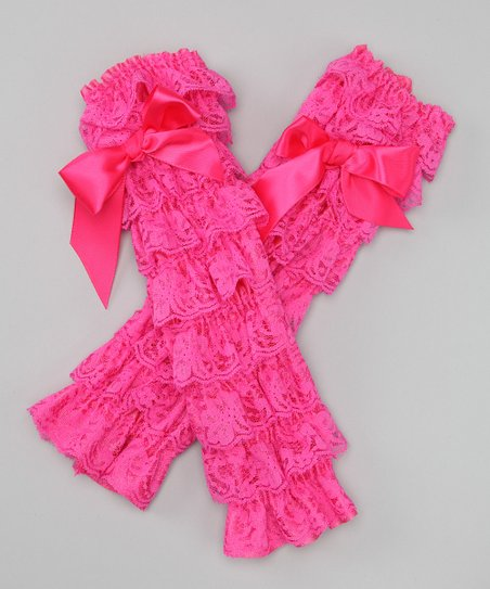 Watermelon Lace Ruffle Bow Leg Warmers