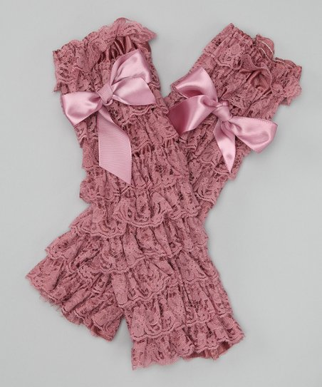 Dust Pink Lace Ruffle Bow Leg Warmers