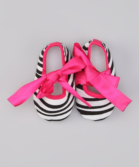 Hot Pink Zebra Stripe Mary Jane