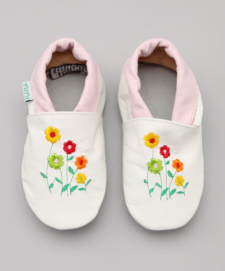 White Flower Garden Leather Booties