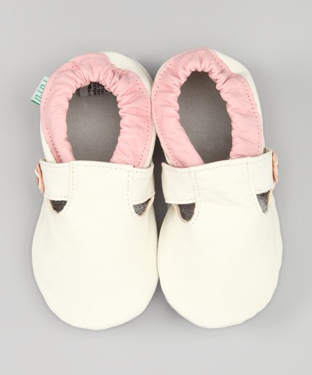 White & Pink Ashley Leather Booties