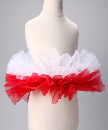 White &amp; Crimson Tutu - Kids