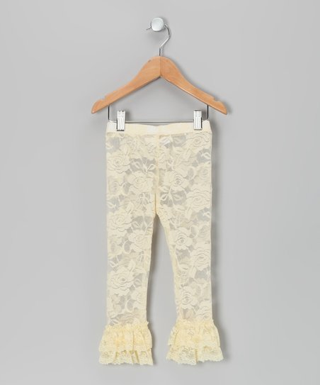 Cream Lace Ruffle Leggings - Infant, Toddler & Girls