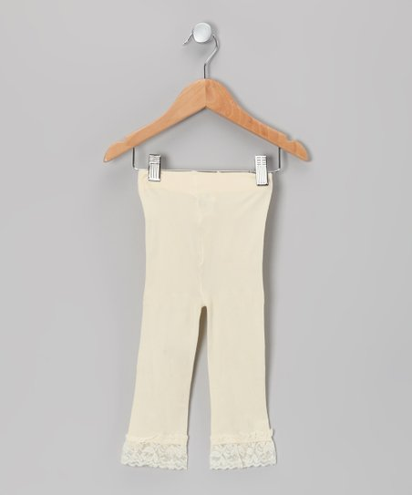 Cream Velvet Lace-Trim Leggings - Toddler & Girls