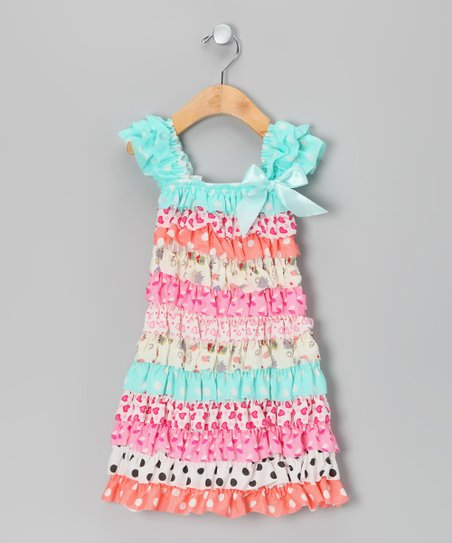 Aqua & Pink Ruffle Cap-Sleeve Dress - Infant, Toddler & Girls
