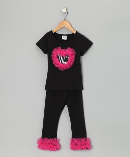 Black & Hot Pink Zebra Tee & Pants - Infant, Toddler & Girls