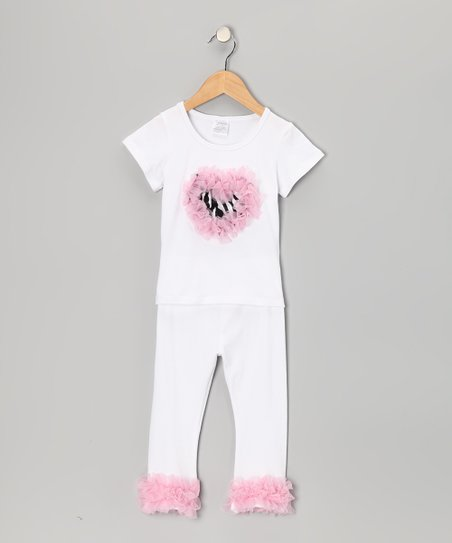 White & Pink Zebra Tee & Pants - Infant, Toddler & Girls