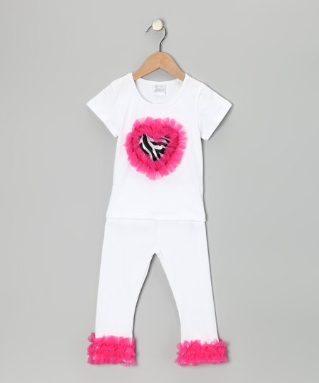 White & Hot Pink Zebra Tee & Pants - Infant, Toddler & Girls