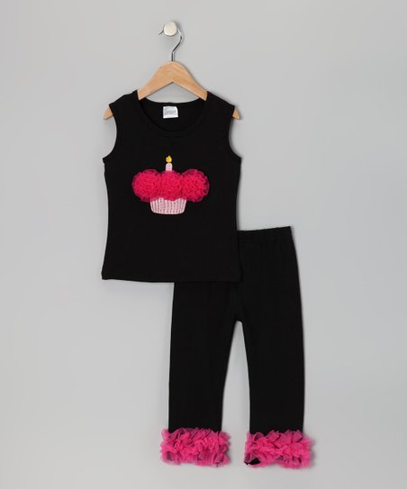 Black & Hot Pink Cupcake Tank & Pants - Infant, Toddler & Girls