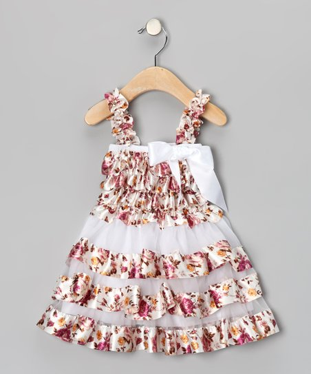 Burgundy Victoria Flower Ruffle Dress - Infant, Toddler & Girls