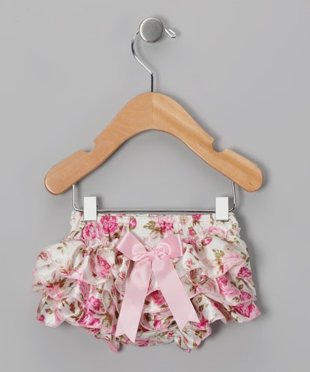 Pink Floral Bow Bloomers - Infant & Toddler
