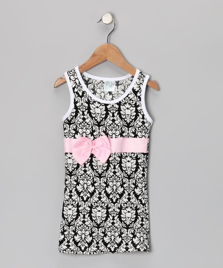 Black & Pink Damask Bow Shift Dress - Infant, Toddler & Girls