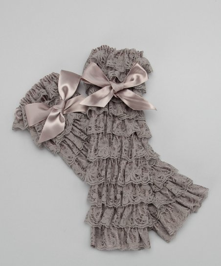 Gray Lace Ruffle Bow Leg Warmers