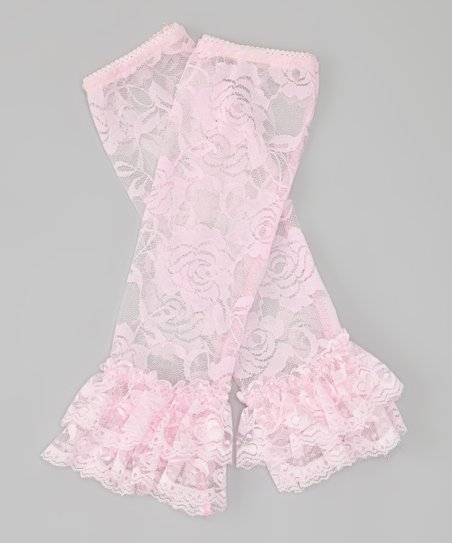 Pink Floral Lace Ruffle Leg Warmers