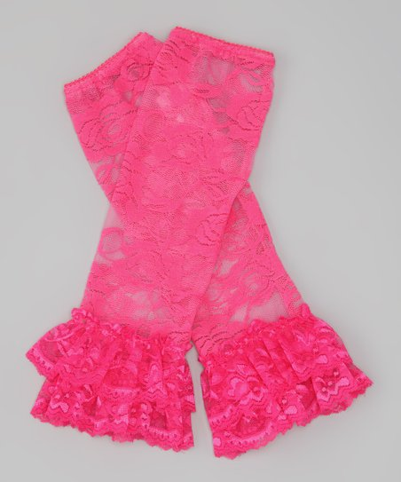 Hot Pink Floral Lace Ruffle Leg Warmers