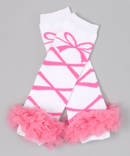 White &amp; Pink Ballerina Ruffle Leg Warmers
