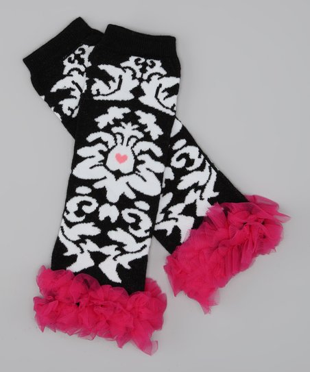 Pink & Black Damask Ruffle Leg Warmers