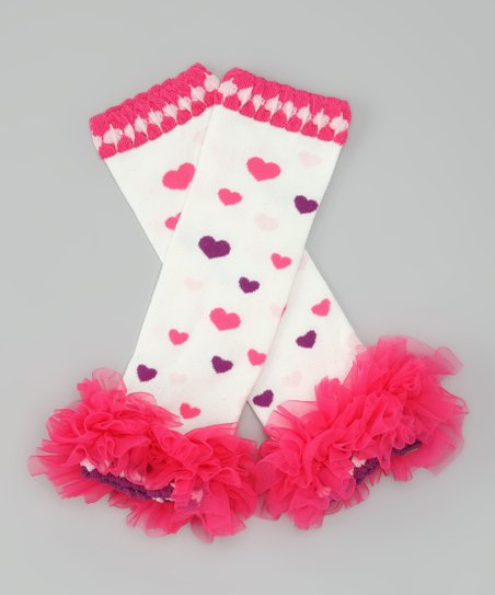White & Hot Pink Heart Ruffle Leg Warmers