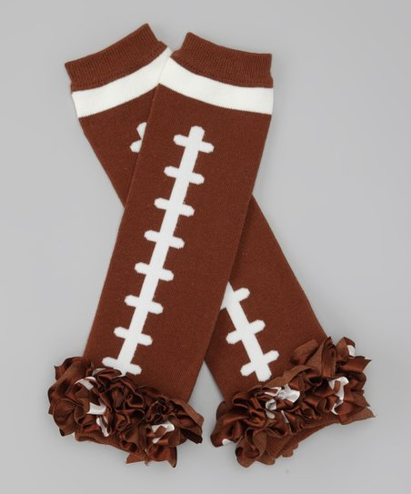 Brown Football Ruffle Leg Warmers