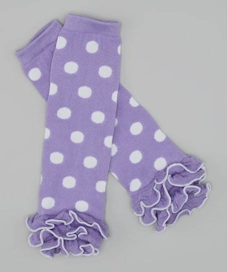 Purple & White Polka Dot Ruffle Leg Warmers