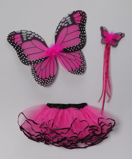Hot Pink & Black Butterfly Tutu Set - Toddler & Girls