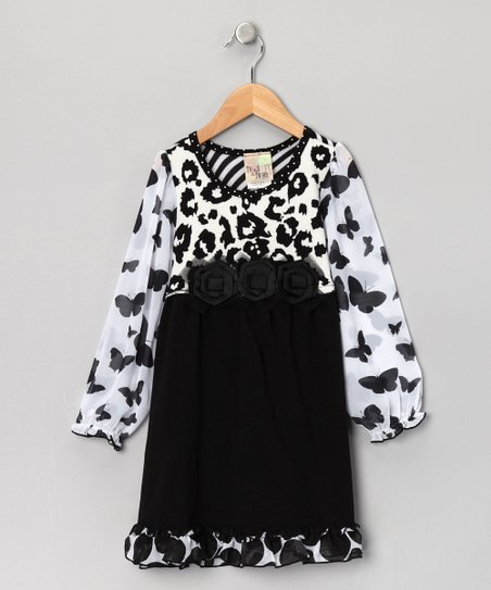 Black Cheetah Butterfly Dress - Girls