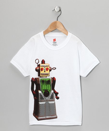 UCHUUSEN White Robot Tee - Toddler & Boys