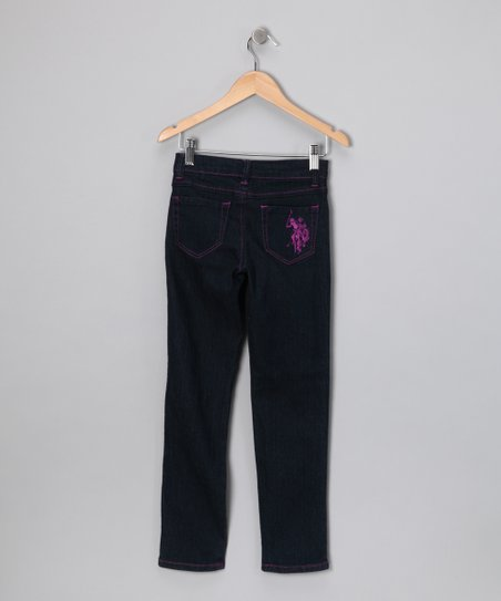 Denim Purple Stitch Jeans - Girls