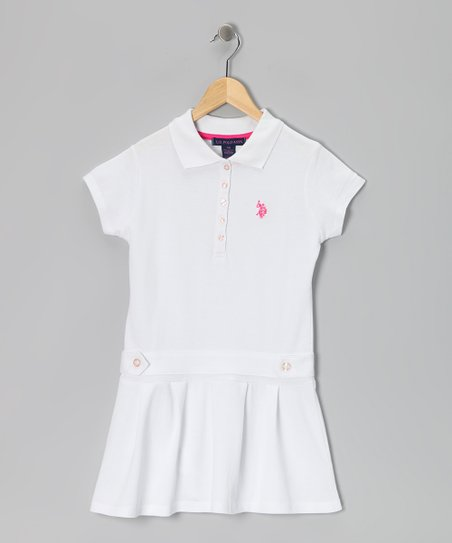 White Drop-Waist Polo Dress - Girls