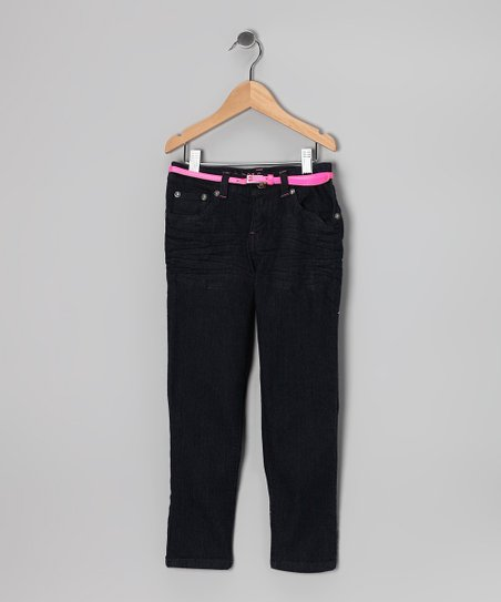 Dark Wash &amp; Pink Belted Skinny Jeans