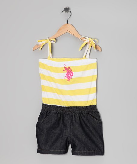 Lemon Stripe Layered Romper - Girls
