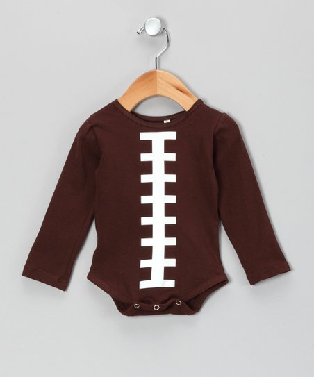 Brown Football Long-Sleeve Bodysuit - Infant