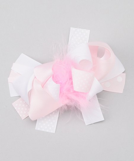 Pink & White Feather Bow Clip