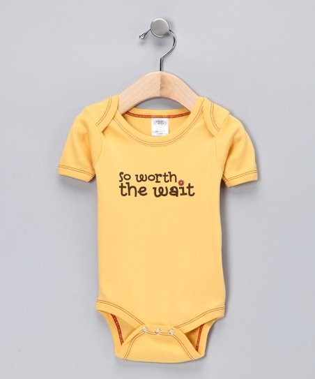 Yellow 'Worth the Wait' Organic Bodysuit - Infant