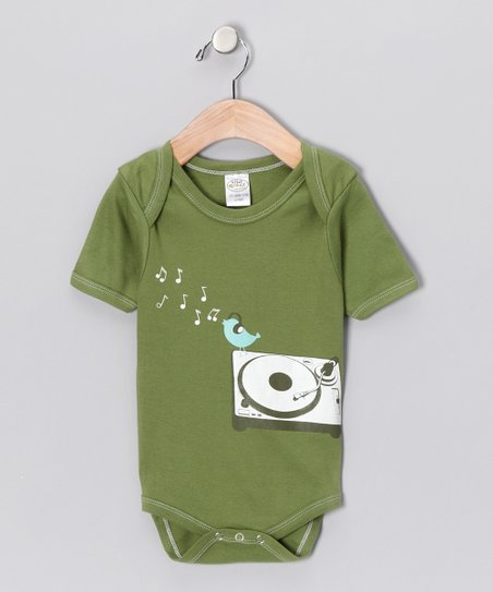 Green DJ Bird Organic Bodysuit - Infant