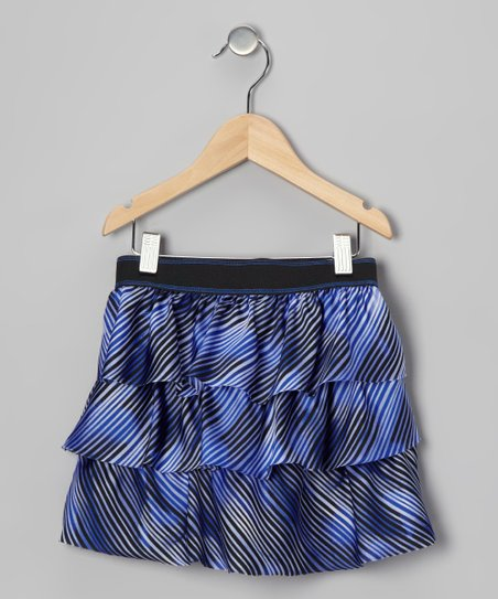 Blue Stripe Tiered Ruffle Skirt - Toddler & Girls