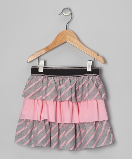 Gray & Pink Tiered Ruffle Skirt - Toddler & Girls