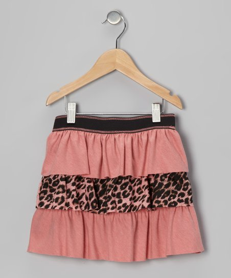 Coral & Leopard Tiered Skirt - Toddler & Girls