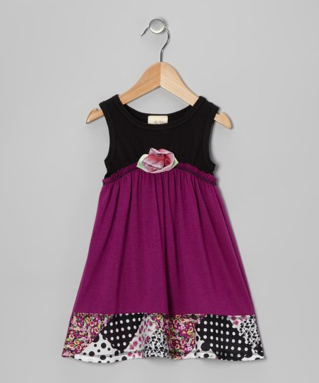 Magenta & Black Blossom Dress - Toddler & Girls
