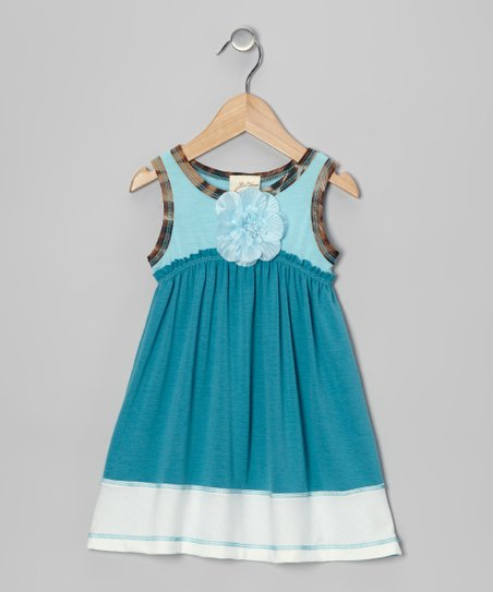 Teal &amp; Blue Blossom Dress - Toddler